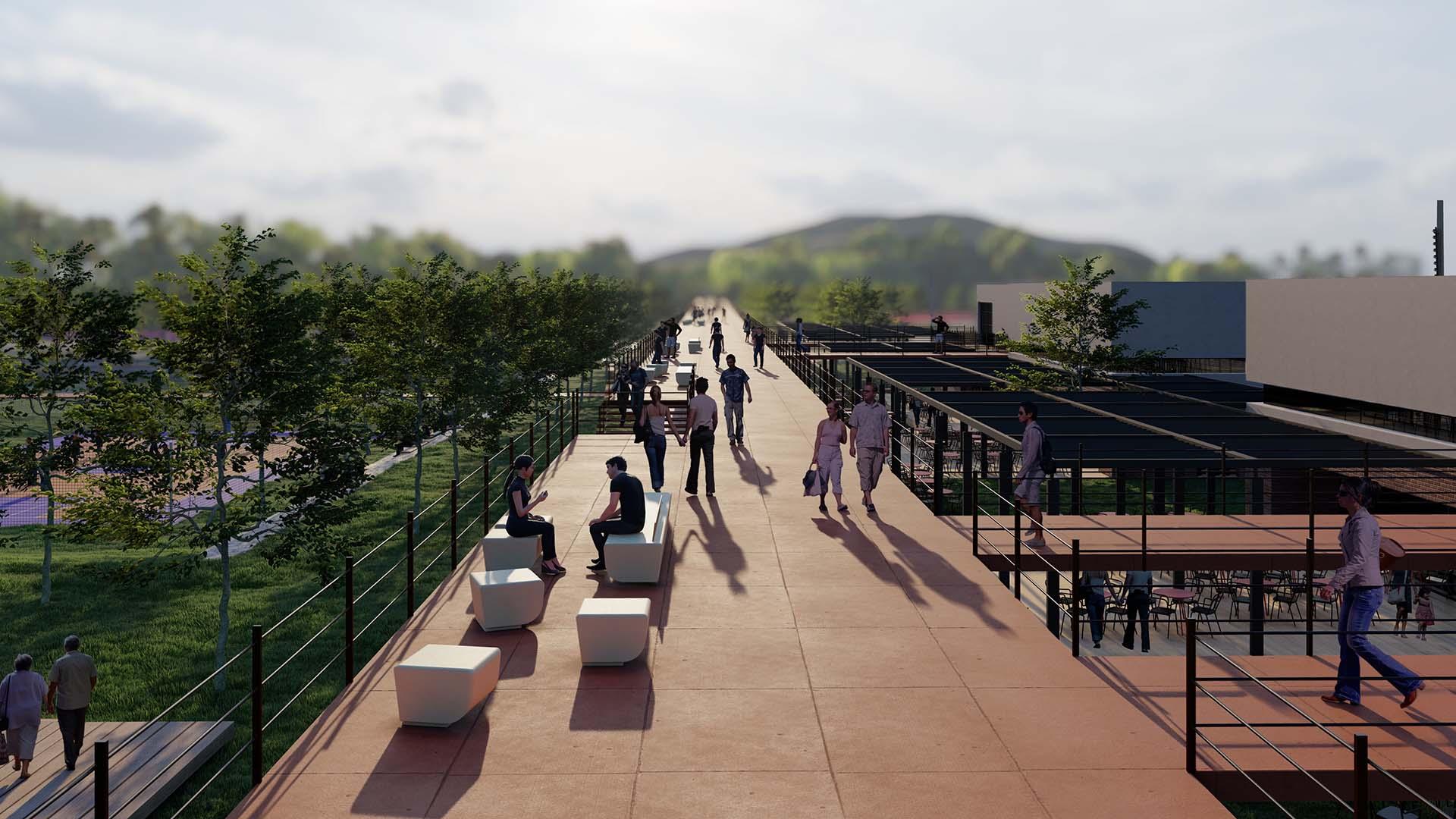 Geniş Yaya Aksı ve Oturma Birimleriyle Oluşturulan Yaya Köprüsü