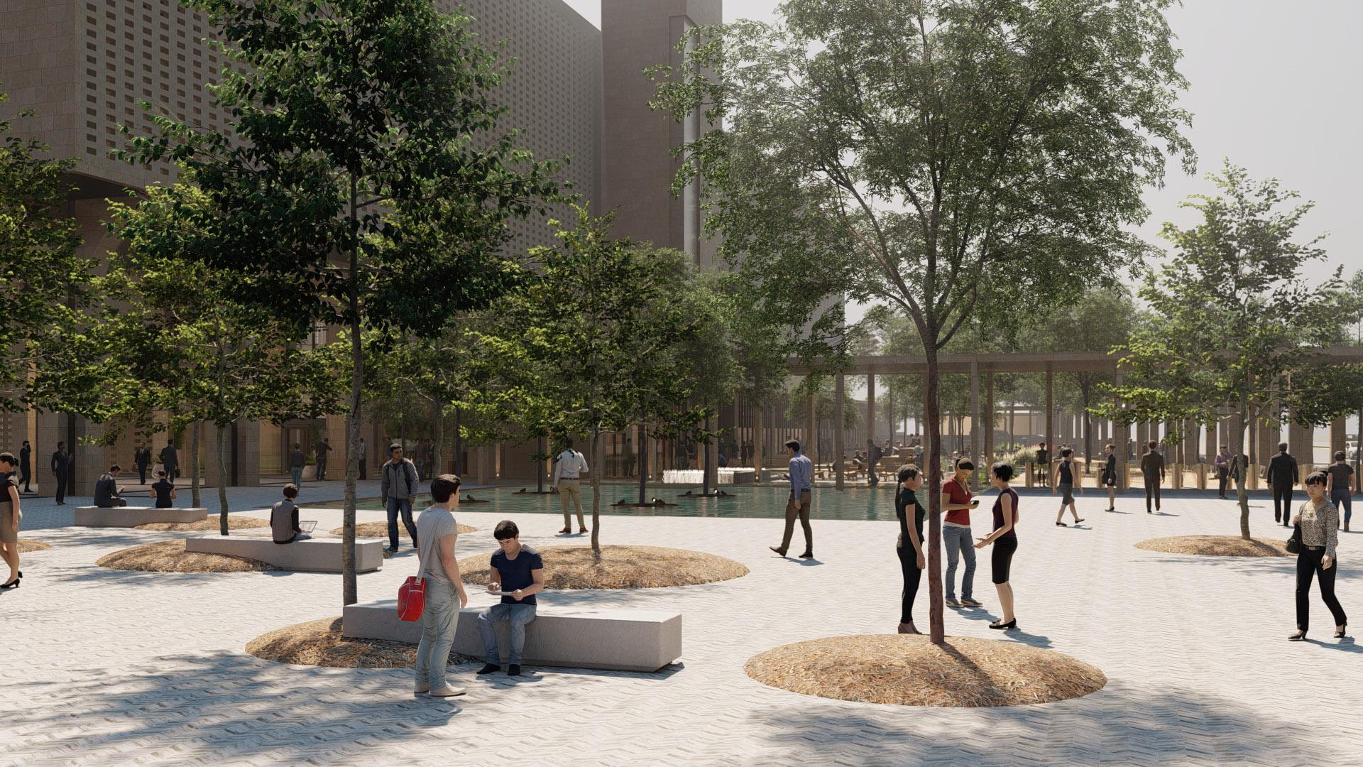 Ağaç Altı Oturma Birimleri ve Süs Havuzu