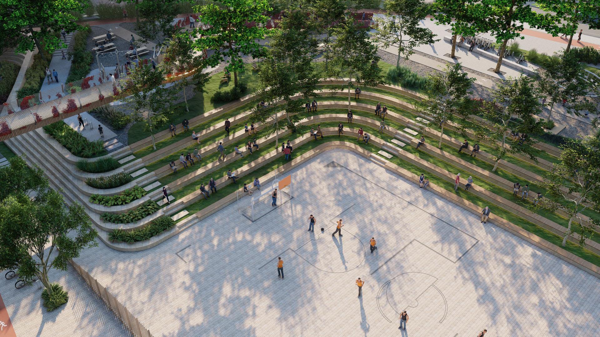 Çim Amfiye Bakan Aerial Görüntü